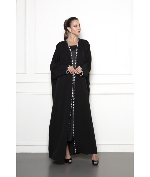 Black farasha cut abaya with ribbon ...
