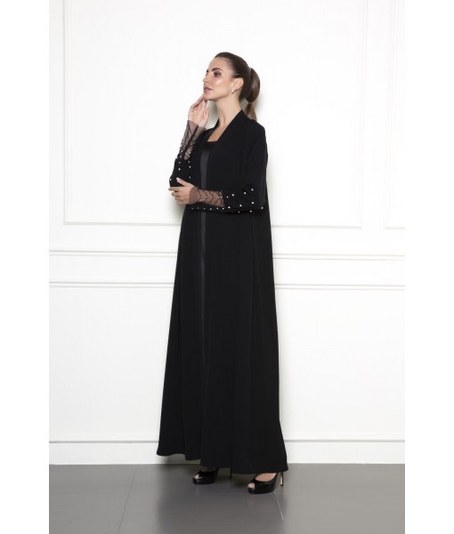 Classic abaya with embellished tulle sleeves