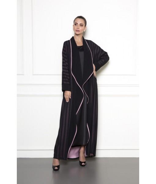 Black mesh abaya with light pink piping