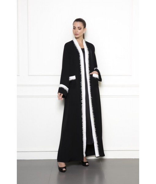 BLACK ABAYA WITH WHITE TRIMS