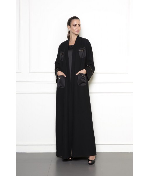Black abaya with patch pocket details