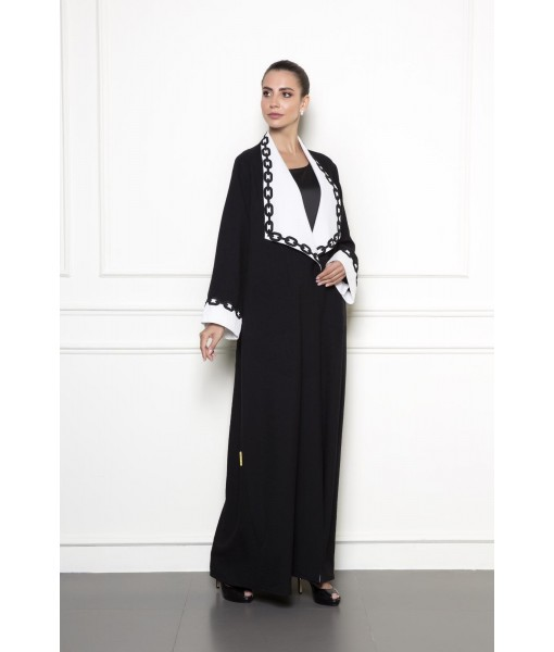 Black abaya with contrast wide collar ...