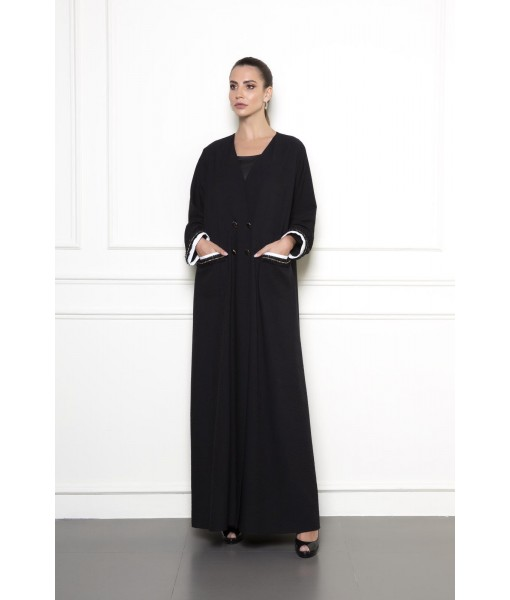 Black abaya with contrast piping pockets