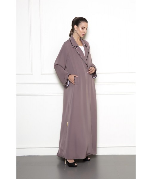 Coat style abaya with organza ribbon ...