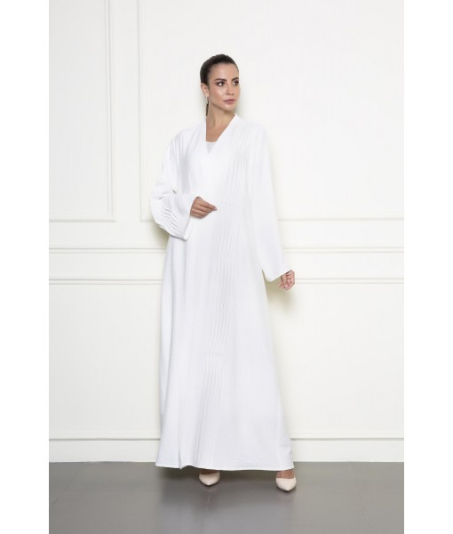 White linen abaya with pearl beadwork ...