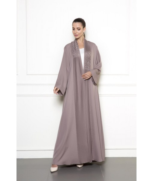 Pleated shawl collar abaya