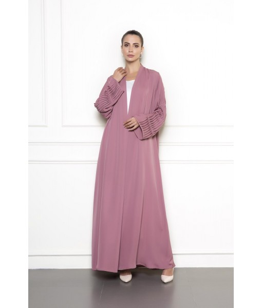Classic abaya with sleeve pleats details ...