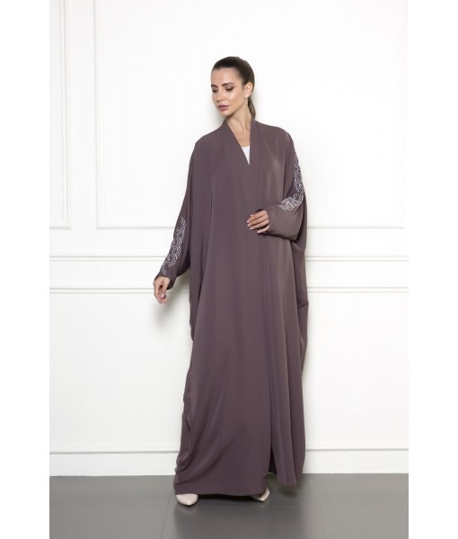farasha cut abaya with sleeve embroidery ...