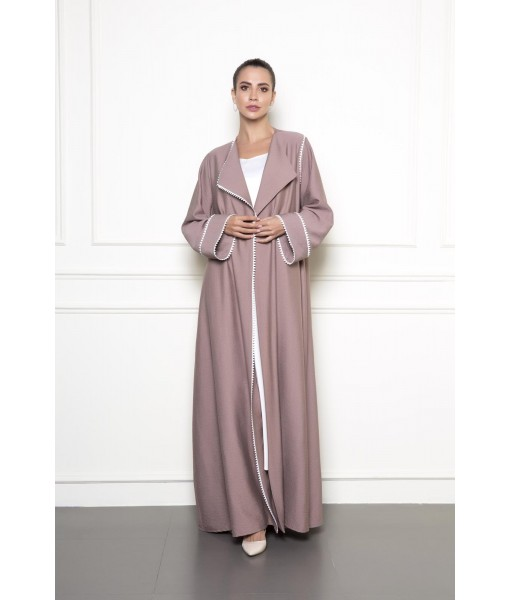 Beige linen abaya with white piping details