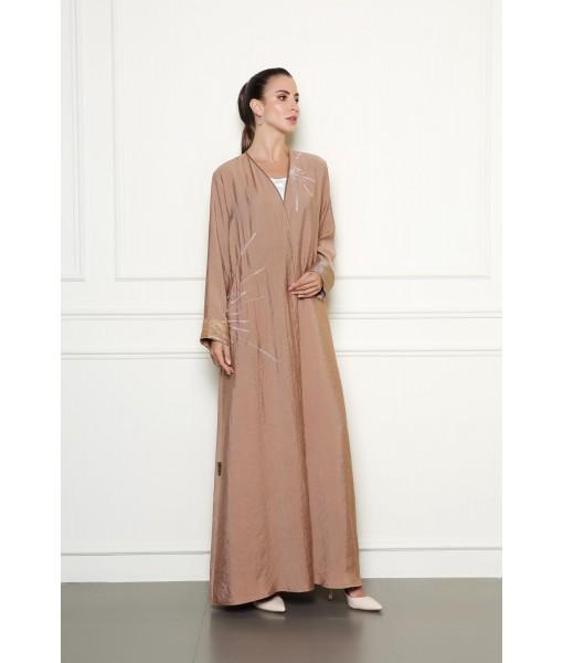 Shimmer beige abaya with embellishment