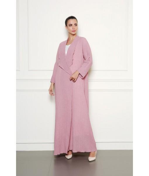 Pastel pink textured abaya