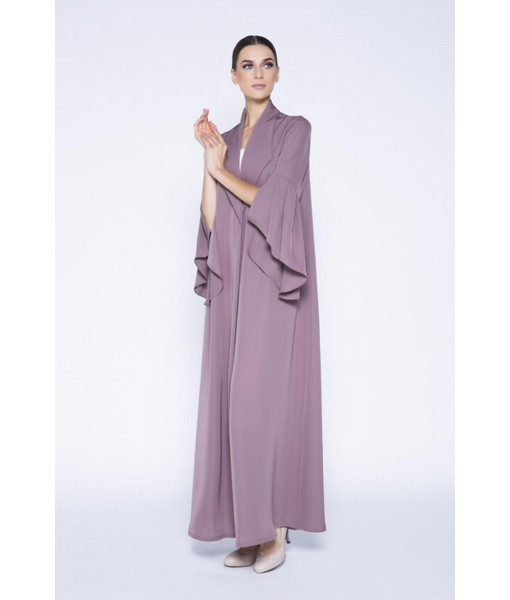Mocha coat style abaya with flared ...