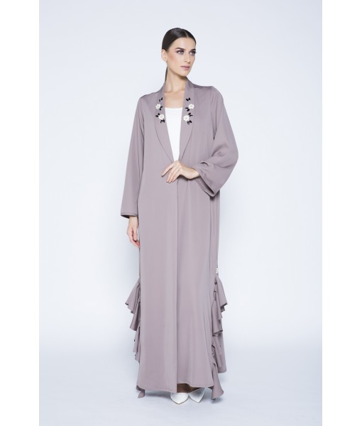 Mocha abaya with floral collar embellishment ...