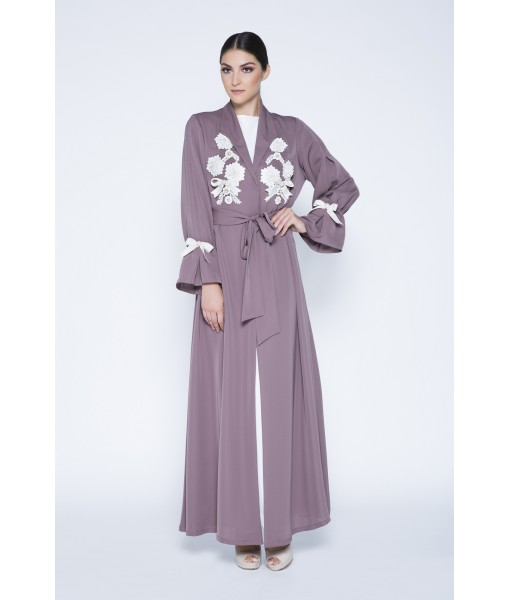 Trench coat abaya with white embroidery ...