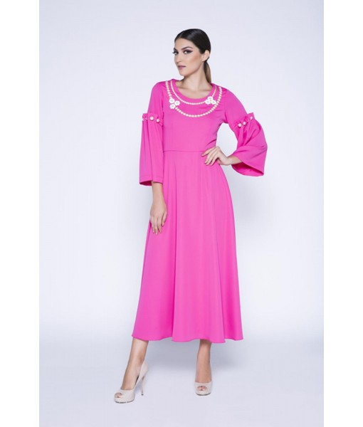 Pink dress with pearl embellished sleeves ...
