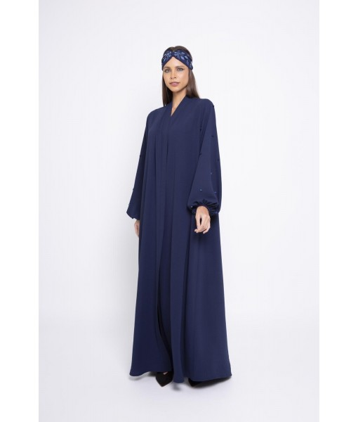 Navy blue linen abaya with puffy cuff sleeves