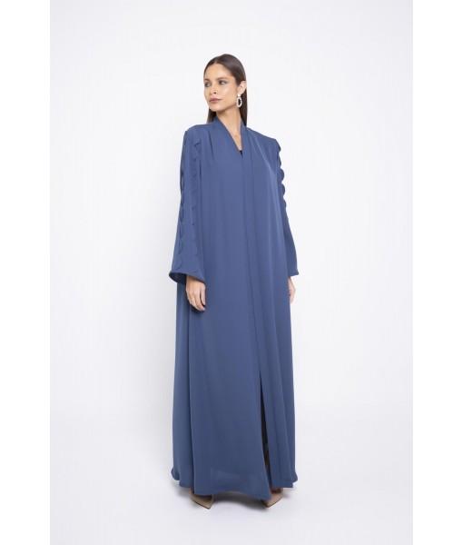 Bright blue abaya with round shape sleeve details