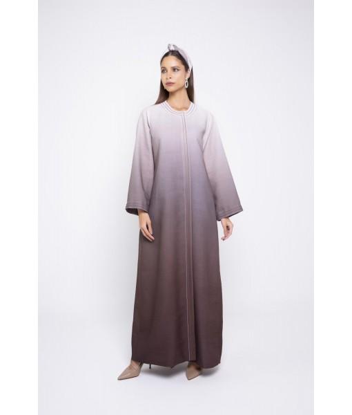 Ombré Brown linen abaya ...