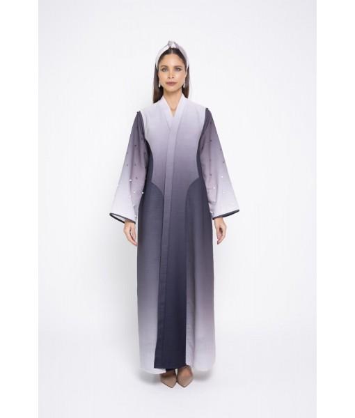 Ombré linen abaya with e...