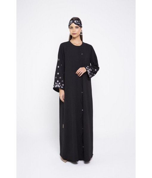 Black linen abaya with wa...