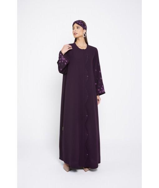 Plum linen abaya with wav...