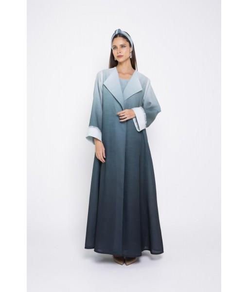 Ombré linen abaya with w...