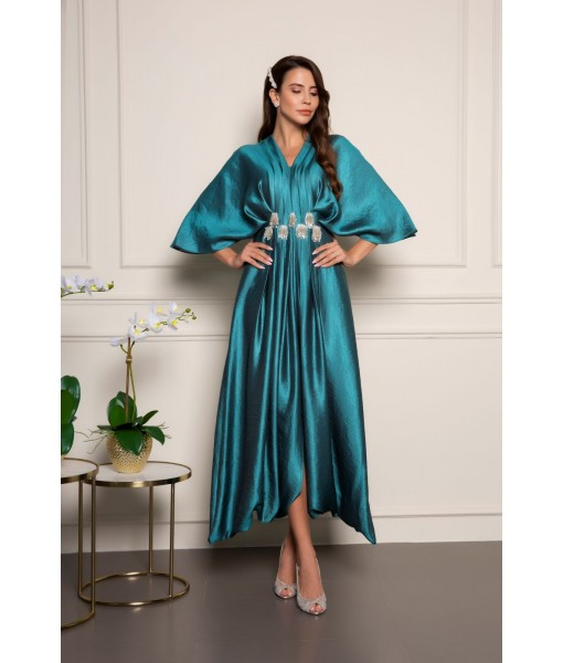 Kimono sleeve dress with pleated waist ...