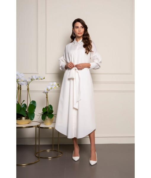 White cotton shirt-dress