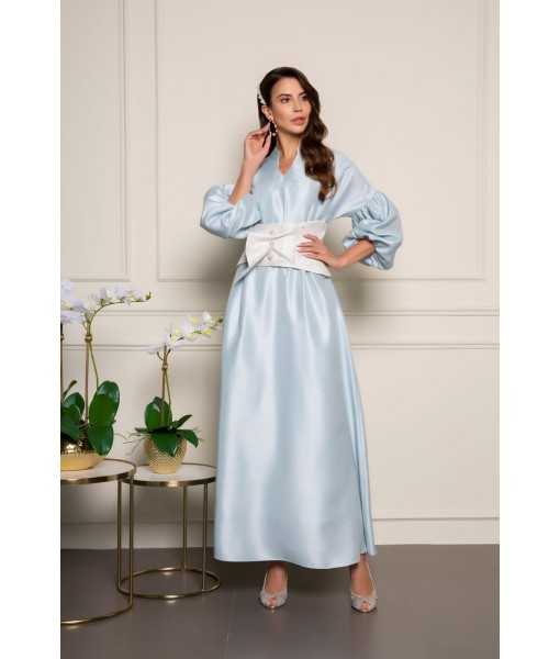 Sky blue kaftan with puffy gathered ...