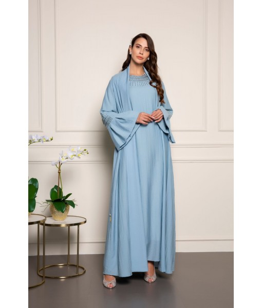 Sky blue shimmer abaya with beads ...