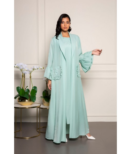 Mint green linen abaya with embellished ...