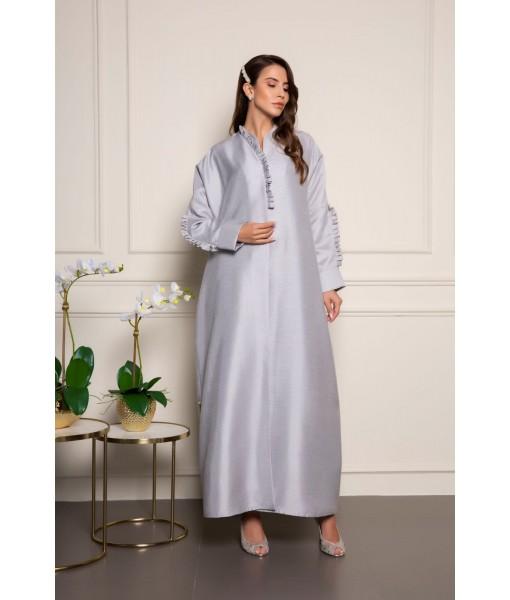 Silver shantung abaya with ruffle details ...