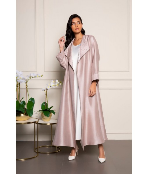 Light pink-collar embellished abaya