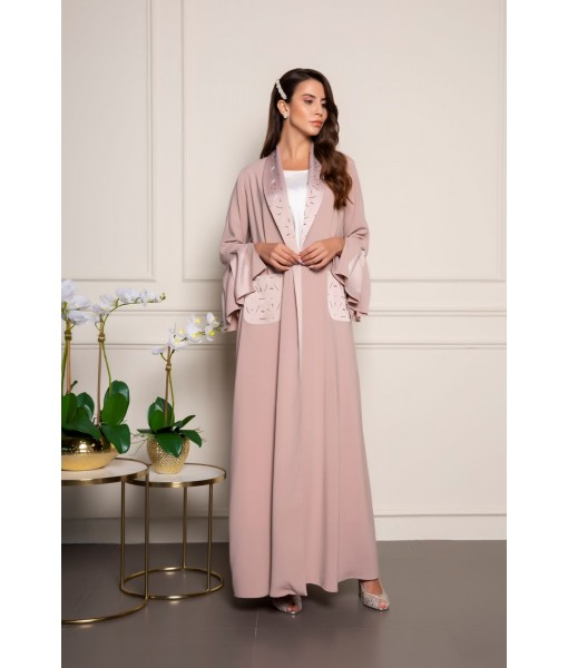 Tone on tone embellished abaya with ...
