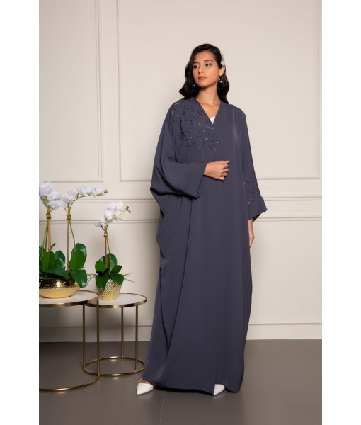 Farasha style abaya in gray with ...