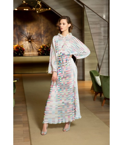 Printed pleated kaftan