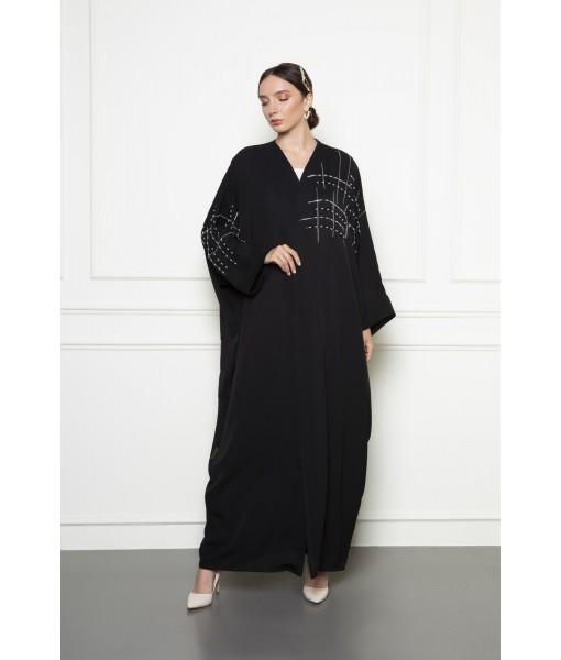 Black farashah cut abaya with asymmetrical bead embellishment