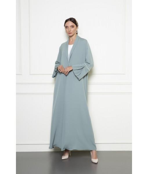 Sage green abaya with hand embellished sleeve detail