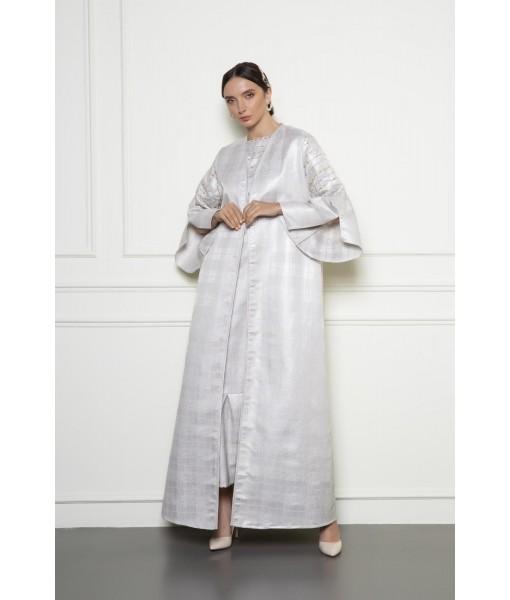Patterned jacquard abaya with unique embellished sleeves