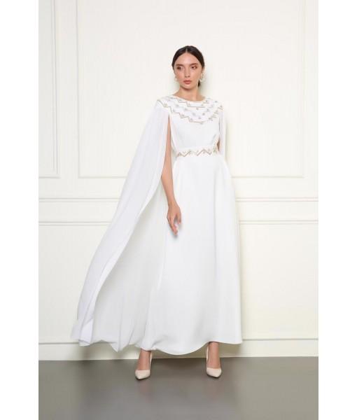 Off white cape design Jalabiyah with metallic embellishment