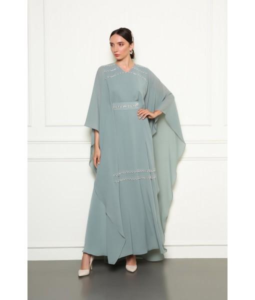 Soft sage green kimono style jalabiyah