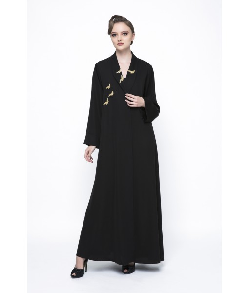 Black shawl collar abaya with bird ...