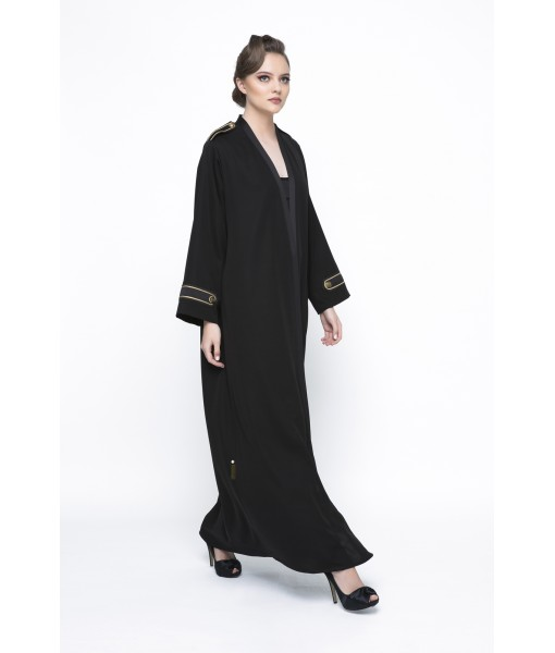 Classic black abaya with chord embellishment.