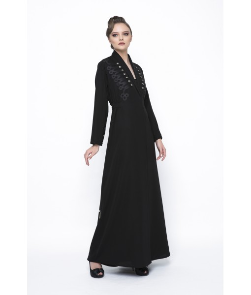 Black military inspired abaya with chord ...