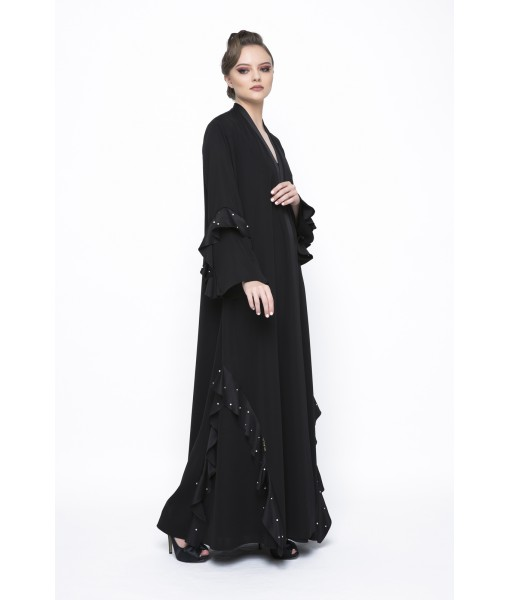 Classic ruffled abaya with pearl details.
