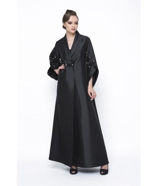 Black kimono style abaya with chord ...
