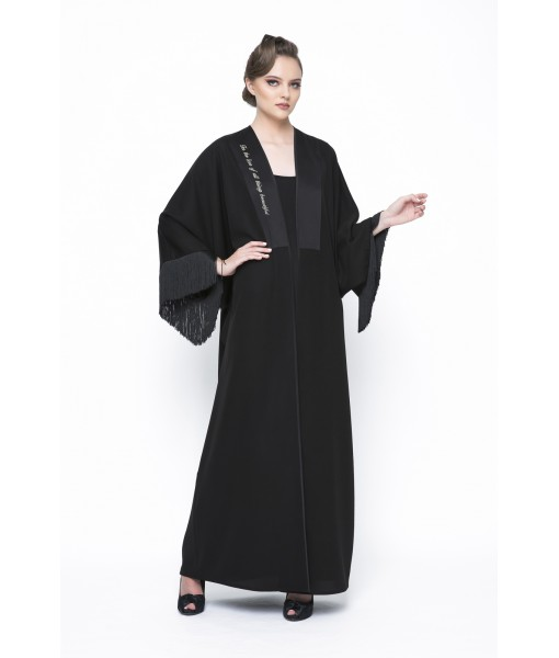 Black classic abaya with text embroidered ...