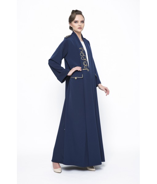 Navy rolled collar abaya with chord ...