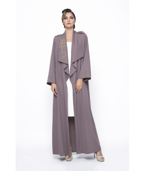 Mocha waterfall collar abaya with chord ...