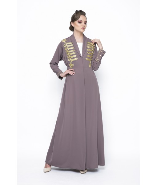 mocha military inspired abaya with chord ...